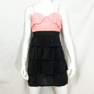 Ya Los Angeles Dresses - NWT Ya Los Angeles Pink Black Ruffly Tiered Mini